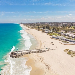An aerial view of City Beach in Perth, Western Australia.